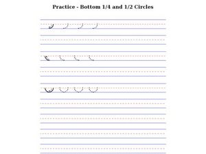 Printing Practice - Bottom 1/4 and 1/2 Circles Worksheet