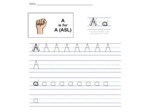 A is for ASL - American Sign Language Worksheet