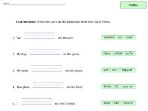 Verb Practice 10 Worksheet