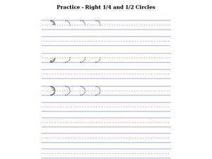 Prewriting: Right Fourth and Half Circles Worksheet