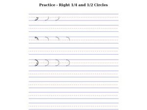 Prewriting Practice: Right fourth and half circles Worksheet