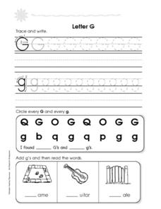 Letters Gg and Hh Worksheet