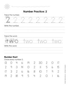 Number Practice: 2 Worksheet