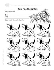 Four Fine Firefighters Worksheet