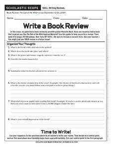 Scholastic Scope Write A Book Review Worksheet For 6th 9th Grade