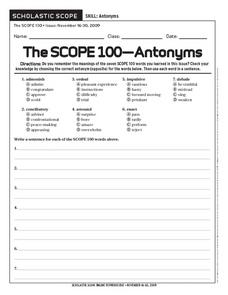 The Scope 100-Antonyms Worksheet