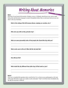 Writing About Memories Worksheet