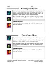 Green Space Mystery Worksheet