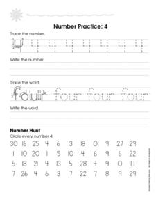 Number Practice: 4 Worksheet