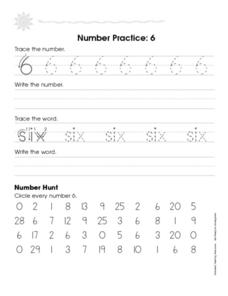 Number Practice: 6 Worksheet