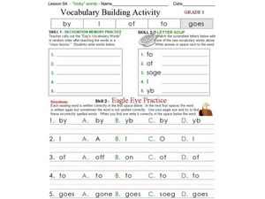 Vocabulary Building Activity - Tricky Words Worksheet