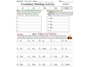 Vocabulary Building Activity - Long Vowels Worksheet