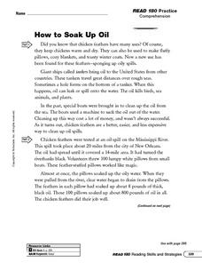 How to Soak Up Oil Worksheet
