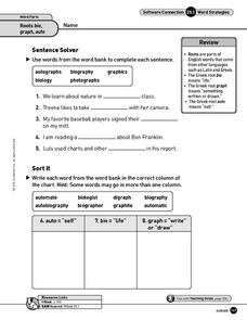 Word Strategies: Roots Worksheet