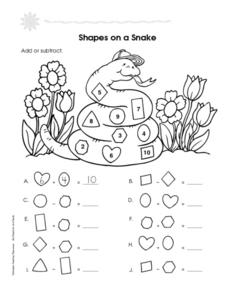 Shapes on a Snake Worksheet