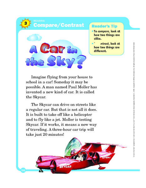 Compare And Contrast  A Car In The Sky  Graphic Organizer