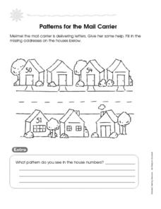 missing numbers patterns for the mail carrier worksheet for 1st 3rd grade lesson planet. Black Bedroom Furniture Sets. Home Design Ideas