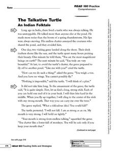 Reading Comprehension: The Talkative Turtle Worksheet