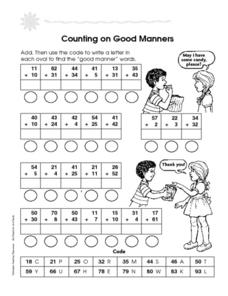 Counting on Good Manners Worksheet