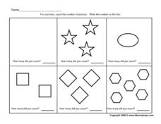 Count Shapes: 1-5 Worksheet