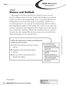 Sisters and Softball: Writing Model Worksheet