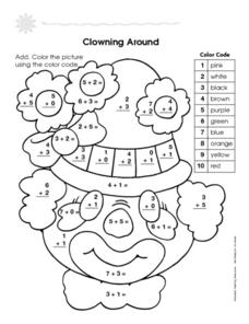 Clowning Around: Simple Addition Worksheet
