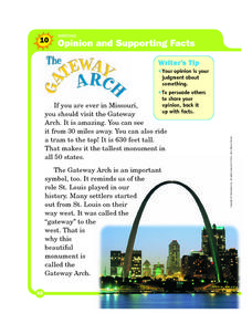 Opinion and Supporting Facts: The Gateway Arch Worksheet