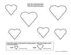 Counting Hearts: 1-4 Worksheet