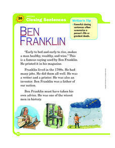 Writing Closing Sentences: Ben Franklin Worksheet