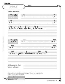 Cursive Practice: O, D, W and E Worksheet