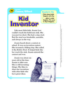 "Reading - Cause and Effect - ""Kid Inventor"" Worksheet"