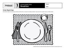 Personal Health - Breakfast Worksheet