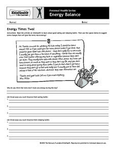 Personal Health - Energy Balance Worksheet