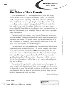 Writing Model: The Value of Rain Forests Worksheet