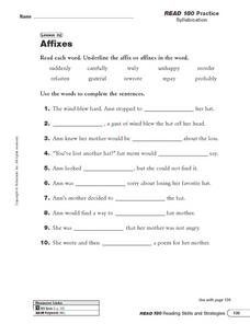 Lesson 32 - Affixes Worksheet