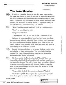 Reading Comprehension: The Lake Monster Worksheet