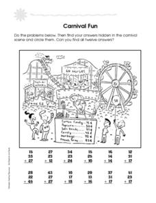 Carnival Fun: Addition with 3 Numbers Worksheet