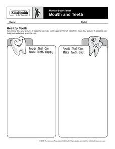 Human Body Series - Mouth and Teeth - Healthy Teeth Worksheet