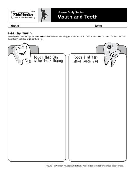 Healthy Teeth Worksheets - Best Worksheet
