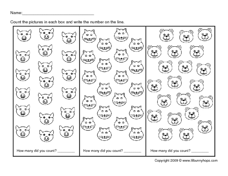 Counting Animal Faces 1930 Kindergarten 2nd Grade Worksheet – Counting to 30 Worksheets