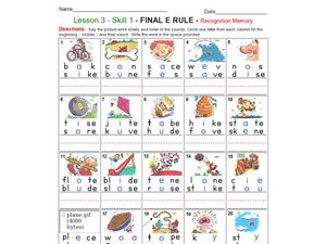 Final Rule e - Recognition Memory Worksheet