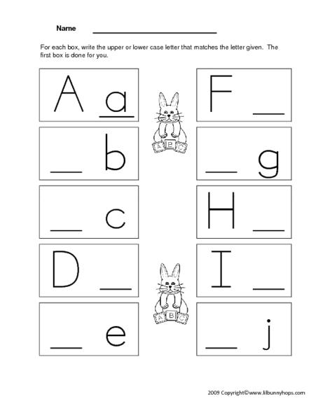 writing upper and lower case letters a through j worksheet for pre k kindergarten lesson planet. Black Bedroom Furniture Sets. Home Design Ideas