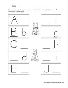 Writing Letter A- J - Upper and Lower Case Letters Worksheet