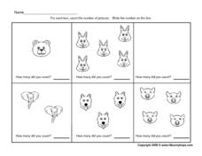 Counting Animal Pictures - 0-5 Worksheet