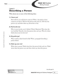 Describing a Person, Adding Character Details Worksheet