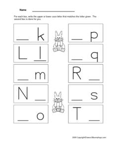 Upper and Lower Case Manuscript 2 Worksheet
