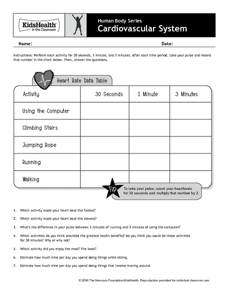 Heart Rate Lesson Plans Worksheets Lesson Planet
