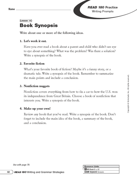 Writing Prompts: Book Synopsis and Summarizing Worksheet for 5th