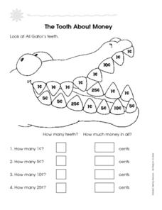 The Tooth About Money: Pennies, Nickels, Dimes and Quarters Worksheet