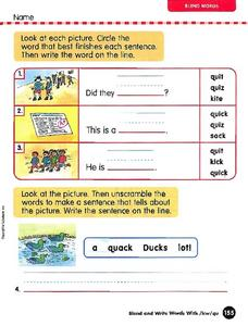 Blend Word Activity Worksheet